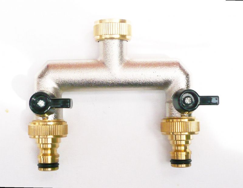 Nickle plated Brass Tap Connector. 2-Way Snap On Fittings & valves